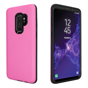 Textured Embossed Lines Dual Layer Hybrid TPU Case - Pink for Samsung Galaxy S9 Plus