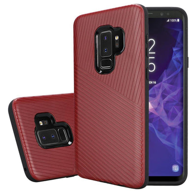 Textured Embossed Lines Dual Layer Hybrid TPU Case - Red for Samsung Galaxy S9 Plus