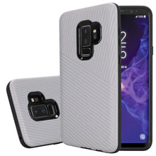 Load image into Gallery viewer, Textured Embossed Lines Dual Layer Hybrid TPU Case - Silver for Samsung Galaxy S9 Plus
