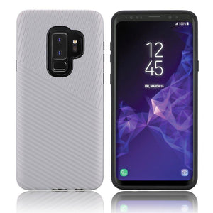 Textured Embossed Lines Dual Layer Hybrid TPU Case - Silver for Samsung Galaxy S9 Plus