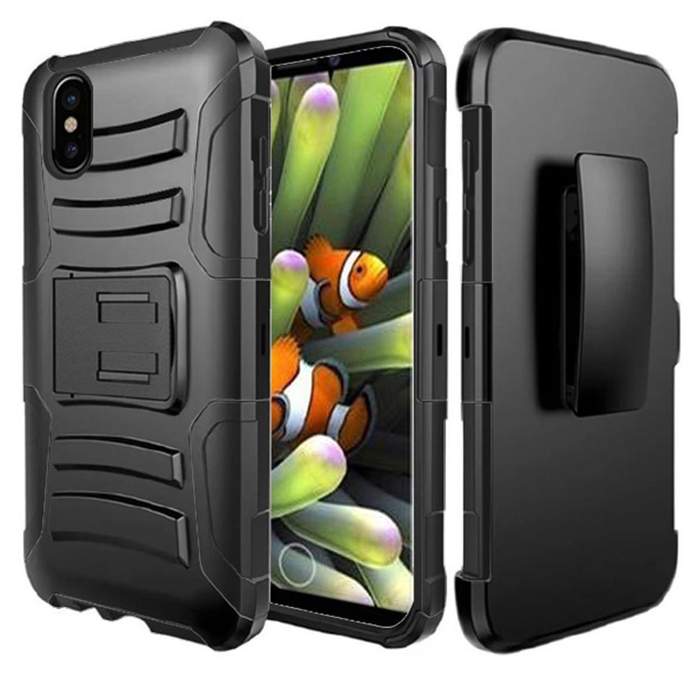 Rugged TUFF Hybrid Armor Hard Defender Case with Holster - Black/ Black for iPhone X