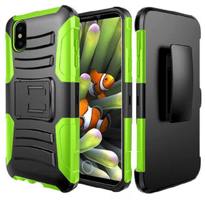 Rugged TUFF Hybrid Armor Hard Defender Case with Holster - Black/ Neon Green for iPhone X