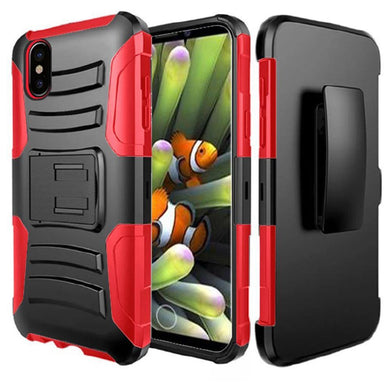 Rugged TUFF Hybrid Armor Hard Defender Case with Holster - Black/ Red for iPhone X