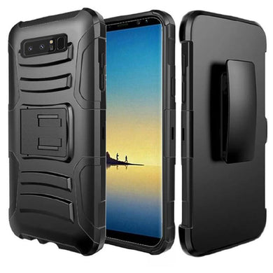 Rugged TUFF Hybrid Armor Hard Defender Case with Holster - Black/ Black for Samsung Galaxy Note8 SM-N950U