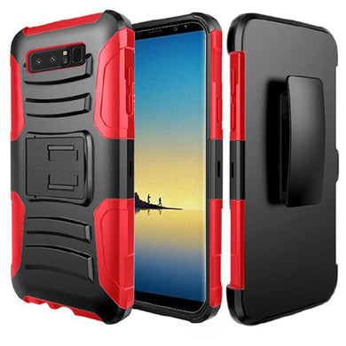Rugged TUFF Hybrid Armor Hard Defender Case with Holster - Black/ Red for Samsung Galaxy Note8 SM-N950U