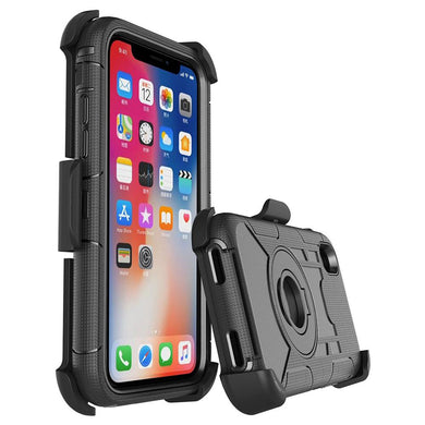 Hybrid Shockproof Holster Case with Stand - Black/ Black for iPhone X