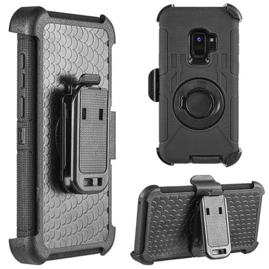Hybrid Shockproof Holster Case with Stand - Black/ Black for Samsung Galaxy S9 Plus
