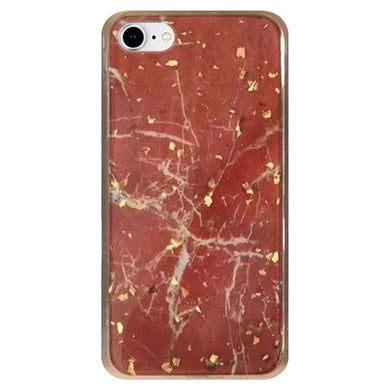 Slim Hybrid Marble Design Glitter TPU Case - Red for iPhone 7, iPhone SE 2020