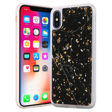 Slim Hybrid Marble Design Glitter TPU Case - Black for iPhone X