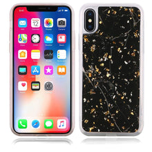 Load image into Gallery viewer, Slim Hybrid Marble Design Glitter TPU Case - Black for iPhone X