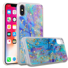 Load image into Gallery viewer, Slim Hybrid Marble Design Glitter TPU Case - Colorful Galaxy for iPhone X