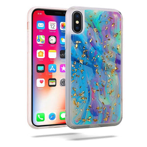 Slim Hybrid Marble Design Glitter TPU Case - Colorful Galaxy for iPhone X