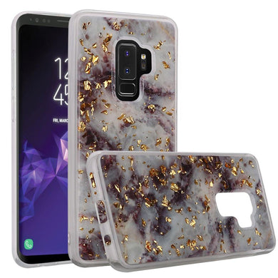 Slim Hybrid Marble Design Glitter TPU Case - Purple for Samsung Galaxy S9 Plus