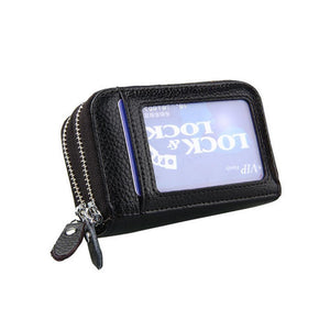 Leather Dual Layer Zipper Card Holder Wallet RFID Blocking Coin Purse Case - Black