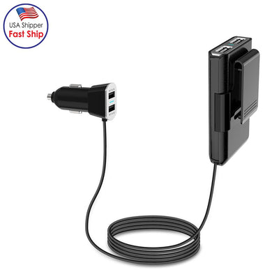 Universal 9.6A 4 Port USB Car Charger With Extension Charging For Rear Seat Passengers - Black