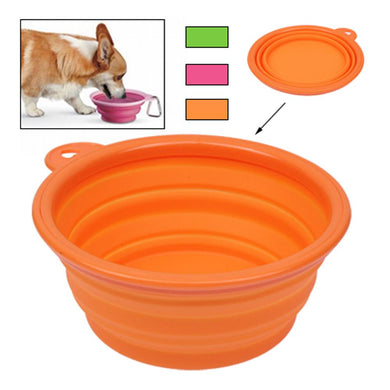 Portable Stretchable Silicon Food Feeder Dish Serving Bowl Water Container for Cat, Dog, Pet (Random