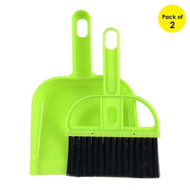 Mini Desktop Car Keyboard Sweep Cleaning Brush Small Broom Dustpan Set - Green (Pack of 2)