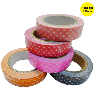 Dot Pattern Tape Adhesive Sticker for DIY Decoration - 1 Pack (Random Color Delivery)