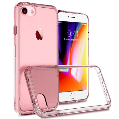 Shockproof Fusion Candy TPU Case with Clear Acrylic Back - Pink for iPhone 8