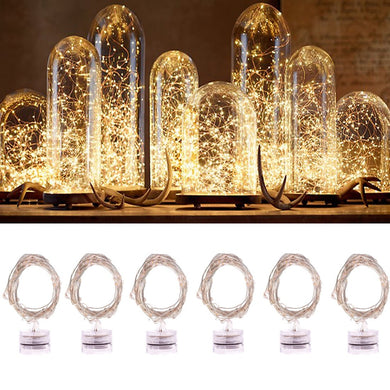 AMZER Waterproof Light Copper Wire Starry String Light 20 LEDs Rope Fairy Light - Warm White (Pack of 6)