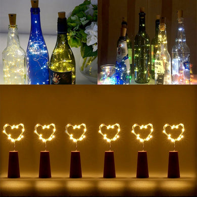 AMZER Waterproof Light Wine Bottle Cork Copper Wire String Light 18 LEDs Mini Starry Rope - Warm White (Pack of 6)