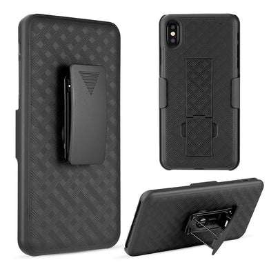 AMZER Shellster Hard Case with Belt Clip Holster for iPhone Xs Max - Black