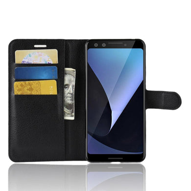 AMZER Horizontal Flip Leather Case With Wallet & Card Holder for Google Pixel 3 - Black