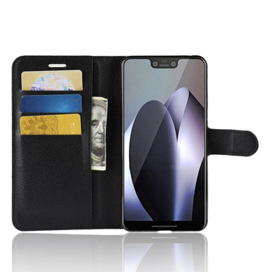 AMZER Horizontal Flip Leather Case With Wallet & Card Holder - Black for Google Pixel 3 XL