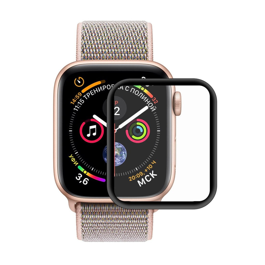 AMZER 3D Full HD Screen Protector With Electroplating PET Curved Heat Bending for Apple Watch Series 4 40mm - Black