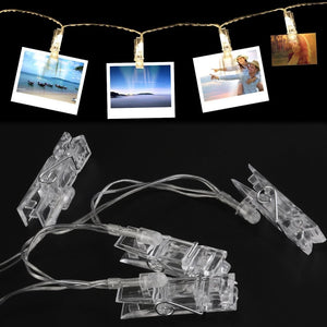 AMZER 10 LED Photo Clip String Lights Decor Indoor/Outdoor, Battery Powered Lamp for Home Party Christmas Decoration Birthday Wedding Festival - Warm White