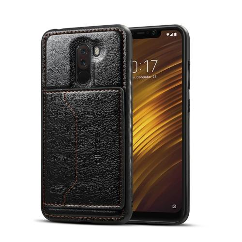 Leather Texture Protective TPU Case With Holder & Card Slots for Xiaomi PocoPhone F1 - Black