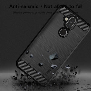 Rugged Shockproof TPU Case With Carbon Fiber Design for Nokia 7.1 Plus - Black