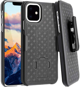 AMZER Shellster Hard Case With Kickstand for Apple iPhone 11 - Black - fommystore