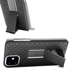 Load image into Gallery viewer, AMZER Shellster Hard Case With Kickstand for Apple iPhone 11 - Black - fommystore