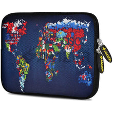 Load image into Gallery viewer, AMZER 10.5 Inch Neoprene Zipper Sleeve Pouch Tablet Bag - Worldwide Map