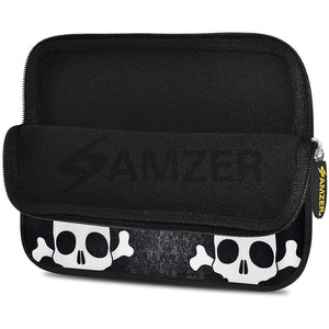 AMZER 10.5 Inch Neoprene Zipper Sleeve Pouch Tablet Bag - Skull Cross Bones