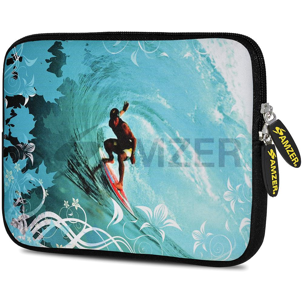 AMZER 7.75 Inch Neoprene Zipper Sleeve Pouch Tablet Bag - Wave Surfer
