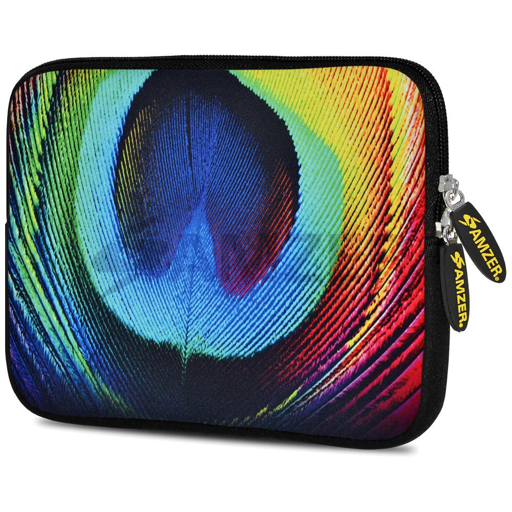 AMZER 10.5 Inch Neoprene Zipper Sleeve Pouch Tablet Bag - Peacock Close-up