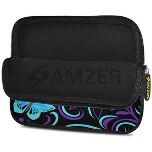 AMZER 7.75 Inch Neoprene Zipper Sleeve Pouch Tablet Bag - Turquoise Purple Fly