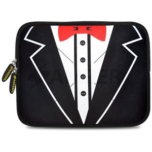 AMZER 10.5 Inch Neoprene Zipper Sleeve Pouch Tablet Bag - Tux Red Bow