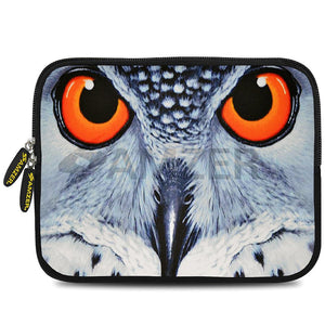AMZER 7.75 Inch Neoprene Zipper Sleeve Pouch Tablet Bag - Focus Owl Close