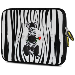 AMZER 10.5 Inch Neoprene Zipper Sleeve Pouch Tablet Bag - Cute Zebra Rose