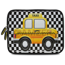 Load image into Gallery viewer, AMZER 7.75 Inch Neoprene Zipper Sleeve Pouch Tablet Bag - Yellow Taxi Checks