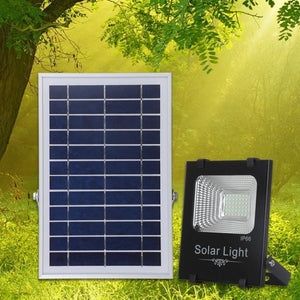AMZER 50W Ultra-thin IP66 Waterproof Solar Powered Timing LED Flood Light, 42 LEDs SMD 2835 LED Lamp with 6V / 0.83A Solar Panel & Remote Control - White Light