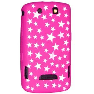 BC Hot Pink & White Stars Laser Cut Silicone Skin for BlackBerry Storm 2 9550