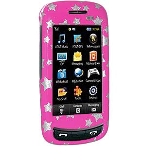 AMZER Stars Pink Snap On Crystal Hard Case for Samsung Impression A877