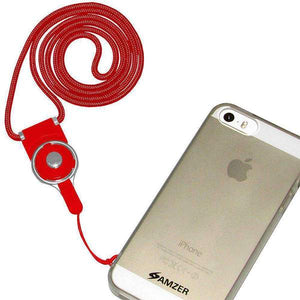 AMZER Durable Detachable Cell Phone Neck Lanyard - Red