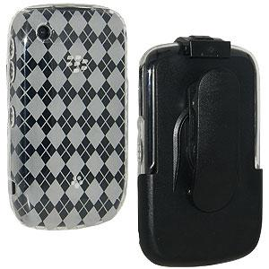 AMZER Clear Luxe Argyle Skin Case Holster with Screen Protector Combo for BlackBerry Curve 3G 9300