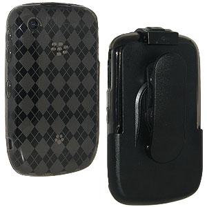AMZER Smoke Grey Luxe Argyle Skin Case Holster with Screen Protector Combo for BlackBerry Curve 3G 9300