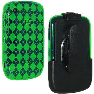 AMZER Green Luxe Argyle Skin Case Holster with Screen Protector Combo for BlackBerry Curve 3G 9300